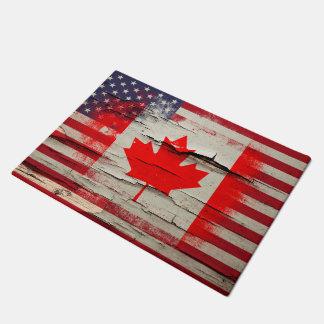 Crackle Paint   Canadian American Flag Doormat