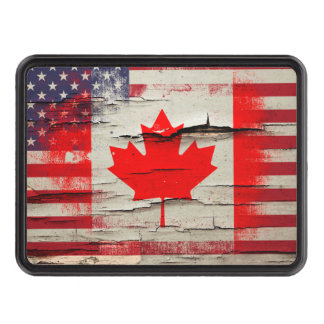 Crackle Paint | Canadian American Flag Hitch Covers