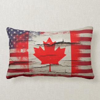 Crackle Paint   Canadian American Flag Lumbar Pillow