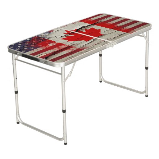 Crackle paint canadian american flag pong table zazzle for Table 6a of gstr 1