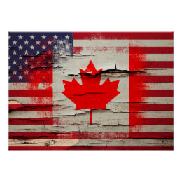 Crackle Paint | Canadian American Flag Poster