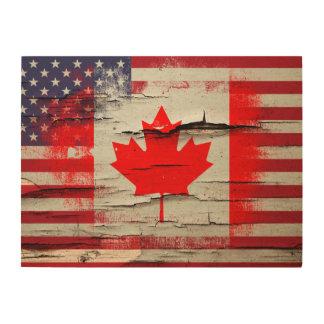 Crackle Paint   Canadian American Flag Wood Print