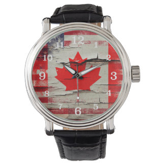 Crackle Paint | Canadian American Flag Wristwatch