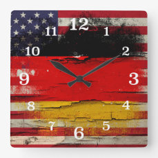 Crackle Paint | German American Flag Square Wall Clock