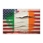 Crackle Paint | Irish American Flag Canvas Print