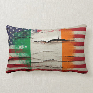Crackle Paint | Irish American Flag Lumbar Pillow