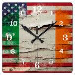 Crackle Paint | Irish American Flag Square Wall Clock