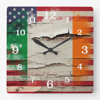 Crackle Paint | Irish American Flag Square Wall Clock