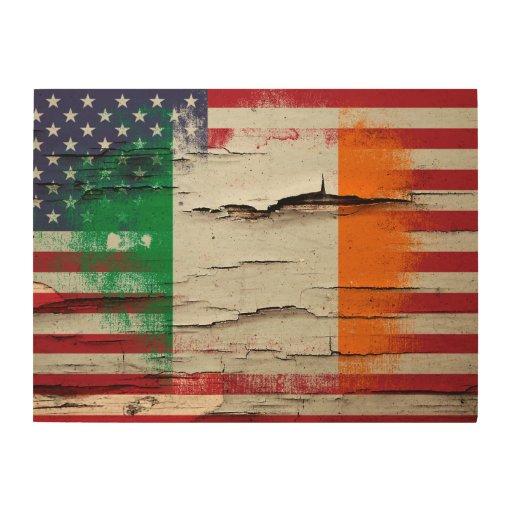 Crackle paint irish american flag wood wall art zazzle American flag wood wall art