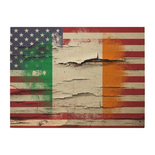 Le Paint Irish American Flag Wood Wall Decor
