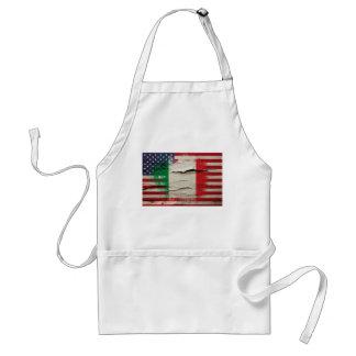 Crackle Paint | Italian American Flag Adult Apron