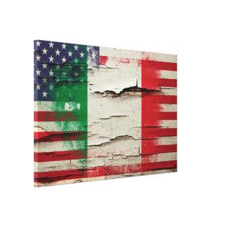Crackle Paint   Italian American Flag Canvas Print