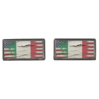 Crackle Paint | Italian American Flag Cufflinks