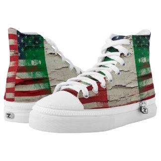 Crackle Paint   Italian American Flag High-Top Sneakers