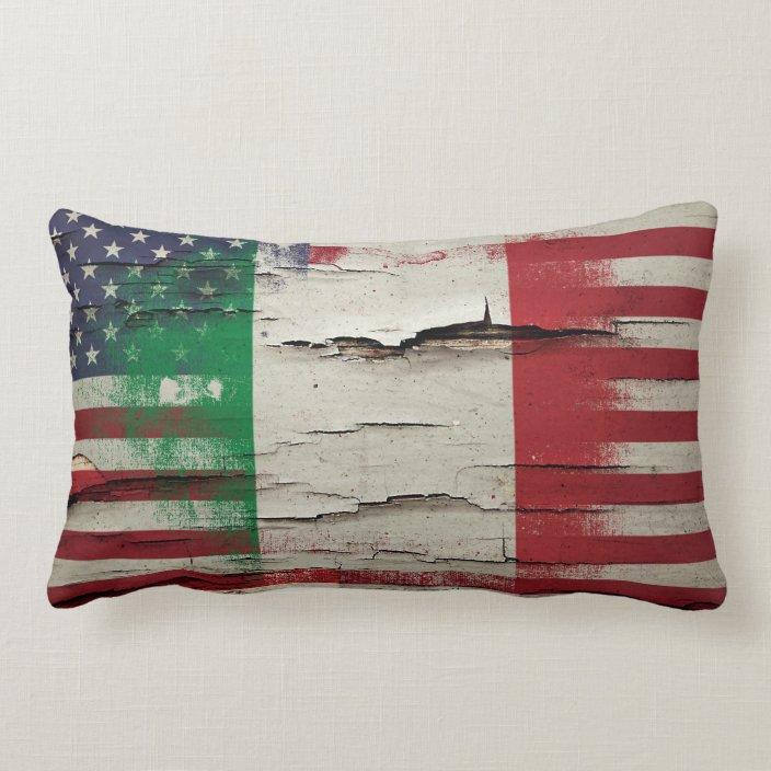 Crackle Paint Italian American Flag Lumbar Pillow Zazzle Com