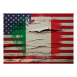 Crackle Paint | Italian American Flag Poster