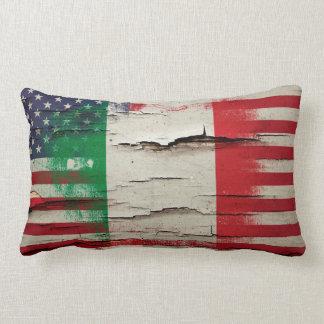 Crackle Paint | Italian American Flag Throw Pillow