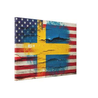 Crackle Paint | Swedish American Flag Canvas Print