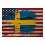 Crackle Paint   Swedish American Flag Poster