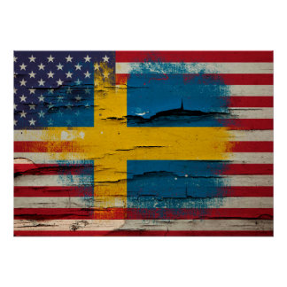 Crackle Paint | Swedish American Flag Poster
