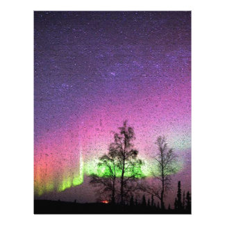 Crackle Texture Art Northern Lights Sky Alaska Letterhead