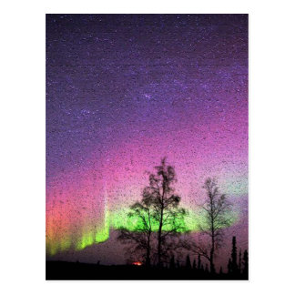 Crackle Texture Art Northern Lights Sky Alaska Postcard
