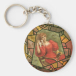 Crackle Tile - Lady in Red Key Chains
