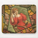 Crackle Tile - Lady in Red Mouse Pad
