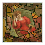 Crackle Tile - Lady in Red Print