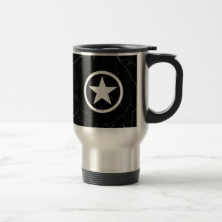 Crackled Black and White Army Star Coffee Mugs