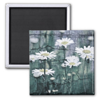 Crackled Daisies 2 Inch Square Magnet