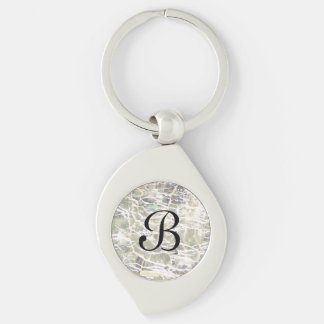 Crackled Glass Birthstone Design - April Diamond Silver-Colored Swirl Metal Keychain