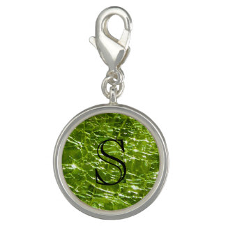 Crackled Glass Birthstone Design - August Peridot Charms