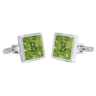 Crackled Glass Birthstone Design - August Peridot Cufflinks