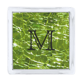 Crackled Glass Birthstone Design - August Peridot Silver Finish Lapel Pin