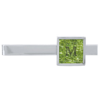 Crackled Glass Birthstone Design - August Peridot Silver Finish Tie Bar