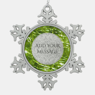 Crackled Glass Birthstone Design - August Peridot Snowflake Pewter Christmas Ornament