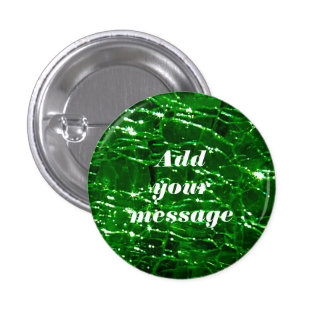 Crackled Glass Birthstone Design - May Emerald Pinback Button