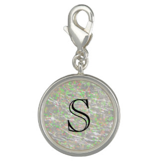 Crackled Glass Birthstone Design - October Opal Photo Charm