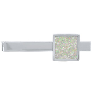 Crackled Glass Birthstone Design - October Opal Silver Finish Tie Clip