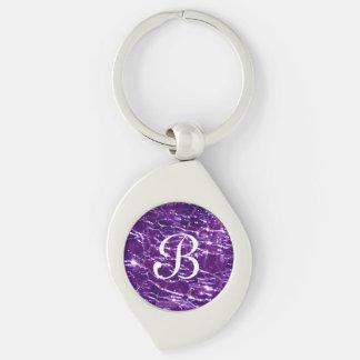 Crackled Glass Birthstone February Purple Amethyst Keychain