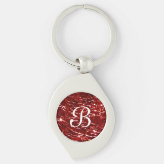 Crackled Glass Birthstone January Red Garnet Keychain