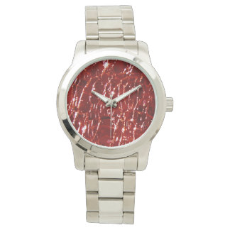 Crackled Glass Birthstone January Red Garnet Watches