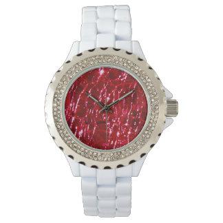 Crackled Glass Birthstone July Ruby Red Wrist Watch