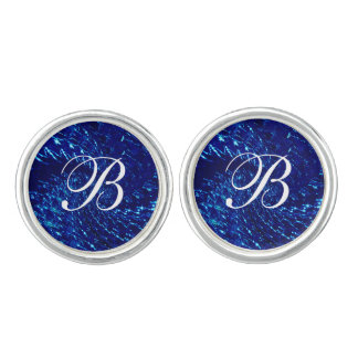 Crackled Glass Swirl Design - Blue Sapphire Cufflinks