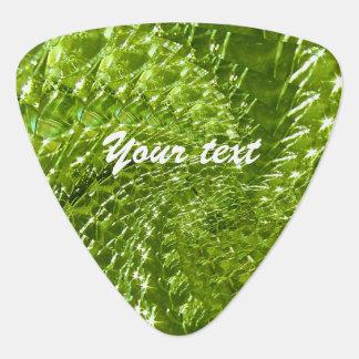 Crackled Glass Swirl Design - Green Peridot Guitar Pick
