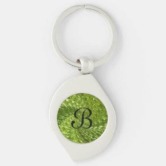 Crackled Glass Swirl Design - Green Peridot Keychain