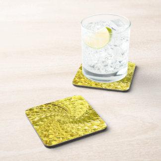 Crackled Glass Swirl Design - Yellow Citrine Drink Coaster