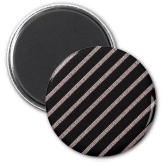 Crackled Lines in Black & Beige 2 Inch Round Magnet