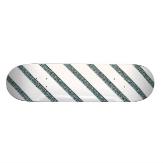 Crackled Lines in White & Blue Skateboard